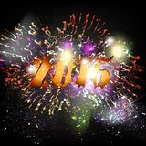 New Year poster with number 2015 and fireworks Royalty Free Stock Image