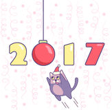 New year poster with numbers, ornament, cat and confetti on background. New year poster with numbers, ornament and cat with confetti on background. Minimalistic Stock Image