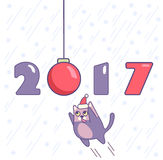 New year poster with numbers, ornament and cat. Minimalistic design. Cartoon style. Cat jumping on Christmas decoration ball. Vector design for holiday Stock Photography