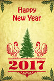 New Year poster with roosters. And the Christmas tree in retro style Stock Images