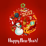 New Year poster with round babble Stock Photography