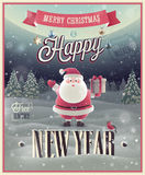 New Year Poster with Santa. Vector illustration Stock Images