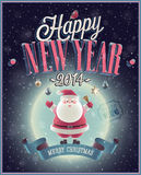 New Year Poster with Santa. Vector illustration Stock Photography