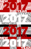 New Year poster with `2017` on striped background Stock Photography