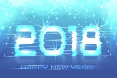 2018 New Year! Poster winter background. 2018 New Year! Poster cyber 2018. Electronic effect, fuzzy, neon. Winter background Royalty Free Stock Image