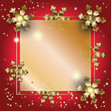 New Year XMAS decoration gold frame. Premium luxury gold frame for text template vector. Merry Christmas and Happy New Year greeting card background with Gold Royalty Free Stock Photo