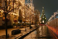 New Year preparations in Moscow at night stock image