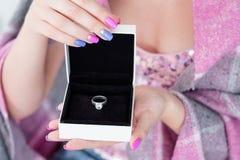 New year present reward diamond ring gift box stock image
