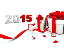 2015 New Year with presents. On white background Stock Image
