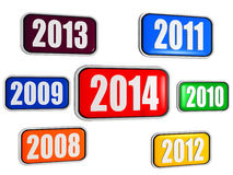 New year 2014 and previous years in colored banners. New year 2014 and previous years in 3d colored banners with figures, business concept Stock Images