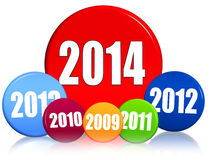 New year 2014 and previous years in colored circles. New year 2014 and previous years in 3d colored circles with figures, business concept Royalty Free Stock Image
