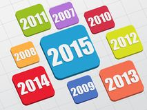 New year 2015. And previous years in 3d flat colored boxes, business concept vector illustration
