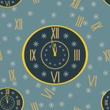 New Year print of clock shows few minutes before midnight Stock Photo