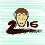 New year print. Monkey symbol. Hand drawn ink 2016. . Vector greeting card, postcard. New year print. Monkey symbol. Hand drawn ink 2016 Stock Image