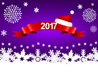 New Year 2017 on a purple background with snowflakes. Vector Stock Image