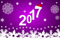 New Year 2017 on a purple background with snowflakes. Vector Royalty Free Stock Image