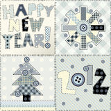 New year quilting design. Set New Year, maybe seamless background pattern. Imitation of quilting design Royalty Free Stock Image