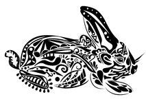 New year rabbit. Vector illustration in psychedelic style Stock Photography