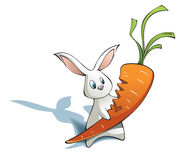 New year Rabbit with big carrot Stock Photo