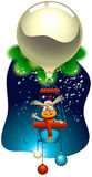 New Year Rabbit Flying a Magic Balloon Royalty Free Stock Images