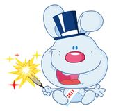 New year rabbit holding a sparkler Royalty Free Stock Photography