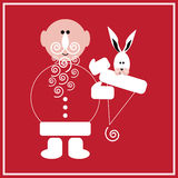 New Year of the Rabbit. Illustration of Santa Claus with the rabbit on the red background Stock Photo
