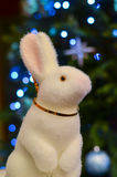 New Year rabbit. New Year  toy on the new year tree Stock Photos