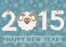 New year 2015 with ram. Greeting card. Sheep symbol of New year. Vector illustration Royalty Free Stock Photos