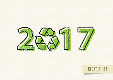 New year 2017 with recycle sign vector illustration. Recyclable symbol 2017 ecological concept vector illustration