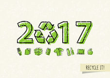 New year 2017 with recycle sign vector illustration. Recyclable symbol 2017 ecological concept Stock Image