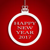New Year Red Background. Christmas Ball. 2017. Round Christmas Frame on Star Sky Night. Red Abstract Background. Christmas Ball. Template Postcard Greeting Stock Images