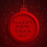 New Year Red Background. Christmas Ball. 2017. Round Christmas Frame on Star Sky Night. Red Abstract Background. Christmas Ball. Template Postcard Greeting Stock Image