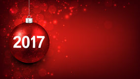 2017 New Year red background. 2017 New Year red background with Christmas ball. Vector illustration Royalty Free Stock Images