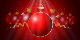 New Year red background with Christmas balls. Vector illustrati. On royalty free illustration