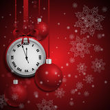 New year red background with christmas balls and vintage clock. Vector illustration with place for text eps 10 stock illustration