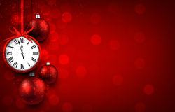New year red background with christmas balls. And vintage clock. Vector illustration with place for text. r vector illustration