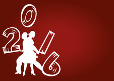 New year red  background. Creative concept with dancers holding letters Stock Images