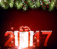 2017 New Year red background. 2017 New Year red background with gift. Vector illustration Stock Photo