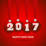 New year red background with red balls  bg eps 10  illustr Stock Image