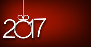 2017 New Year red background. 2017 New Year sign on red background. Vector illustration Royalty Free Stock Photo
