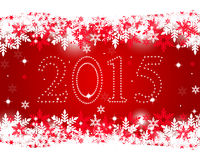 New Year 2015 on a red background. With snowflakes Royalty Free Stock Photo