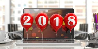 Year 2018 on red balloons, office background. 3d illustration. New year 2018 on red balloons, office background. 3d illustration Stock Photography