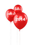 New Year 2014. And red balloons render (isolated on white and clipping path Stock Photography