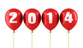 New Year 2014. And red balloons render (isolated on white and clipping path Royalty Free Stock Photo
