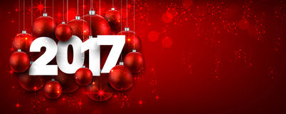 2017 New Year red banner. 2017 New Year red banner with Christmas balls. Vector illustration Royalty Free Stock Photo