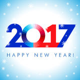 2017 new year red blue card. Happy holidays card with snow flakes and vector color figures 2017. 2017 creative design for your greetings card, flyers and party Royalty Free Stock Images