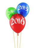 New Year 2016. And Red blue green balloons render (isolated on white and clipping path Royalty Free Stock Images