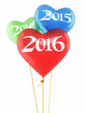 New Year 2016. And Red blue green heart balloons render (isolated on white and clipping path Stock Images