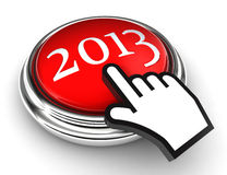 New year red button and cursor hand. On white background. clipping paths included Stock Photos
