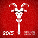 New year red card with goat.Vector business greeting card Royalty Free Stock Photo